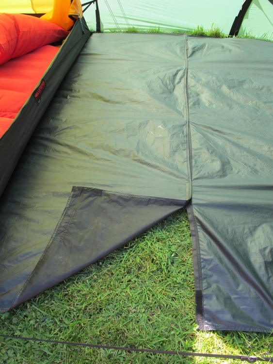 The Nallo 3 GT Footprint which extents the full length and width of the tent and vestibule. We made a modification to this by un-picking the seam which was ... & Hilleberg Nallo 3 GT footprint modification.